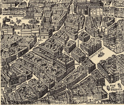 31.8 by 72.4 cm. (full sheet). Strada di Corte Savella runs left to right into the lower-left corner of Piazza del Duca (today Piazza Farnese).